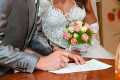 Registration form. On wedding day Stock Image