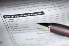 Registration form Royalty Free Stock Photos