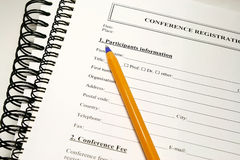 Registration form. Fill up the form concept for conference seminar Stock Photography