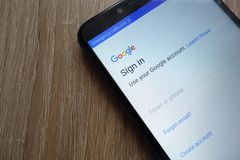 Registration on Google account on a new modern smartphone stock image