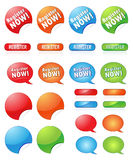 Registration icon set. Set of registration web icons and buttons. The blank ones are useful for your individually text Stock Photo
