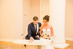 Registration of marriage in the Wedding Palace Stock Image