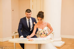 Registration of marriage in the Wedding Palace Stock Photography