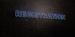 REGISTRATION -Realistic Neon Sign on Brick Wall background - 3D rendered royalty free stock image Royalty Free Stock Photos