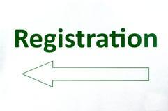 Registration sign Stock Images