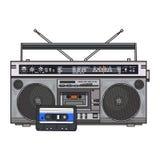 Registratore di cassetta audio, scatola di asta del ghetto ed audionastro da 90s illustrazione vettoriale