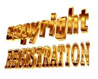Registrazione del copyright del testo dell'oro su un fondo bianco Fotografie Stock
