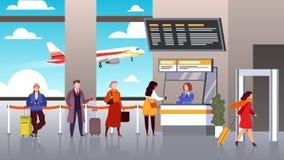 Registrazione dell'aeroporto La gente fa la coda i passeggeri di partenza nella linea viaggio terminale di turismo del controllo  illustrazione vettoriale