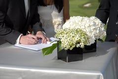 Registrazione di cerimonia nuziale Immagini Stock