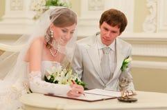Registre de mariage de signe Photographie stock libre de droits