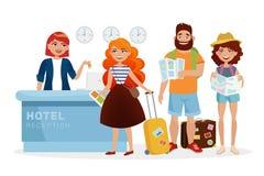 Registre a ilustração moderna da mesa de recepção do hotel com povos dos desenhos animados, turistas O recepcionista de sorriso d Fotografia de Stock