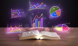 Registre na plataforma de madeira com ilustrações de incandescência do gráfico foto de stock royalty free