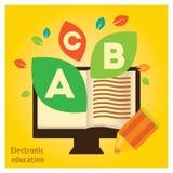 Registre no computador com folhas, gráfico da informação sobre a educação eletrônica Fotografia de Stock Royalty Free