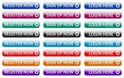 Registrera nu, underteckna upp nu, rengöringsdukknappar för inloggningen här stock illustrationer