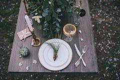 Registrering av brölloptabellen Arkivbilder