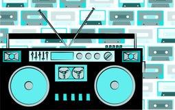 Registreringsapparat för ljudband för musik för kassett för gammal blå retro hipster för tappning antik föråldrad på en bakgrund  royaltyfri illustrationer