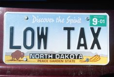 Registreringsskylt i North Dakota arkivbild