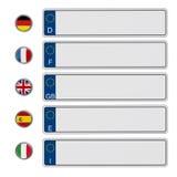 Registreringsskyltar för europeisk union som isoleras på vit bakgrund illustration 3d Royaltyfria Foton