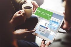 Registret skriver in applicerar listan prenumererar applikationbegrepp arkivfoton