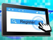 Registrieren Sie anzeigt online World Wide Web und Mitgliedschaft vektor abbildung