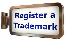 Registrieren Sie ein eingetragenes Warenzeichen auf Anschlagtafelhintergrund stock abbildung