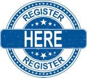 Registrieren Sie hier Stempelinternet-Zeichen auf weißem Hintergrund stock abbildung