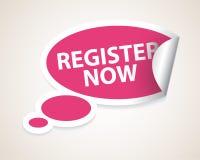 Registrieren Sie jetzt Spracheluftblase als Aufkleber/Kennsatz lizenzfreie abbildung