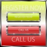 Registrieren Sie jetzt und rufen Sie uns Knöpfe auf einer Farbreflektierenden Oberfläche an Vektor Abbildung