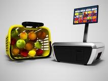 Registrierkasse für das Wiegen von Früchten im Supermarkt mit Korb 3d, auf grauem Hintergrund mit Schatten zu übertragen lizenzfreie abbildung