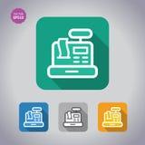 Registrierkassebegriffsikone Colorfoul gesetzte Flache Art, Vektor Stockbilder