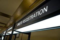 Registrierung-Stand-Zeichen Stockfotografie