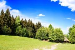 Registro-casa rural en bosque Imagen de archivo libre de regalías