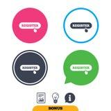 Registro con el icono del indicador de la mano membership ilustración del vector