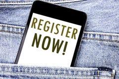 Registro da exibição do texto do anúncio da escrita agora Conceito do negócio para Join para o telefone celular escrito sociedade fotografia de stock royalty free