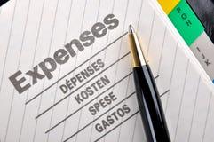 Registro de despesas diário Fotos de Stock
