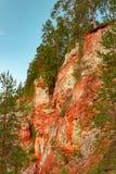 Registro de la cucaracha de la roca del yeso del macizo del karst, región de Arkhangelsk, hermosa vista de la reserva de Pinezhsk fotografía de archivo libre de regalías