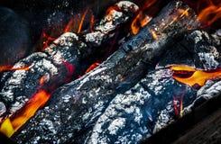 Registro de la quemadura de las chispas de la llama del fuego de los carbones de la leña foto de archivo