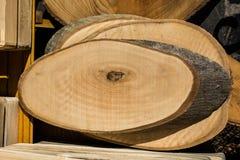 Registro de madera cortado en pedazos finos redondos Foto de archivo