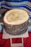Registro de madera cortado en pedazos finos redondos Foto de archivo libre de regalías
