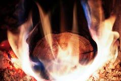 Registro de madera que quema en horno y llama grande Fotos de archivo libres de regalías