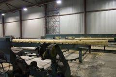 Registro de madera que se mueve a la cortadora en serrería Fotografía de archivo