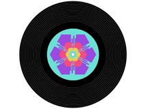 Registro de vinil colorido da música Fotografia de Stock