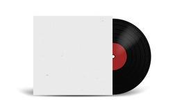 Registro de vinil realístico com modelo da tampa Partido do disco Projeto retro Front View Imagens de Stock Royalty Free