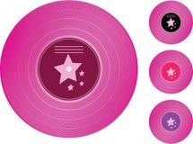 Registro de vinil. Registros da coleção da cor-de-rosa Fotografia de Stock Royalty Free