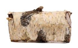 Registro del abedul aislado en un fondo blanco Leña de madera del registro Fotos de archivo