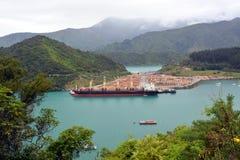 Registro del pino que exporta en Picton, Nueva Zelanda imagen de archivo libre de regalías