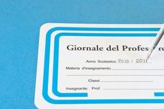 Registro del profesor Imagen de archivo libre de regalías