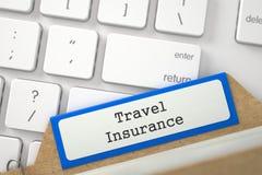 Registro della cartella con assicurazione di viaggio dell'iscrizione 3d Fotografia Stock