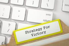 Registro della cartella con strategia dell'iscrizione per la vittoria 3d Immagine Stock
