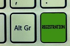 Registro do texto da escrita O conceito que significam a ação ou o processo de registrar-se ou que está sendo registrado subscrev fotografia de stock